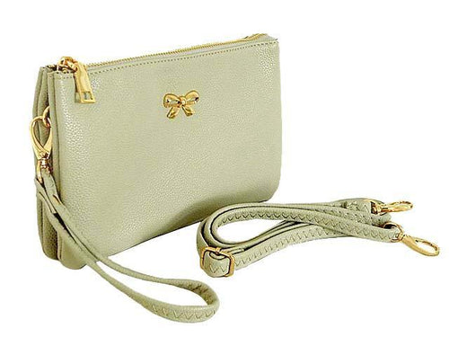 LARGE MULTI-POCKET CROSSBODY BOW PURSE BAG WITH WRIST AND LONG STRAPS - LIGHT GREY
