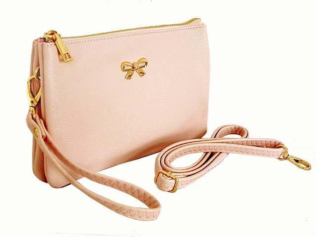 LARGE MULTI-POCKET CROSSBODY BOW PURSE BAG WITH WRIST AND LONG STRAPS - PINK
