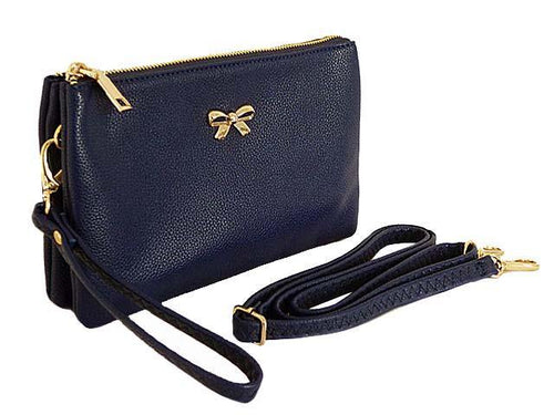LARGE MULTI-POCKET CROSSBODY BOW PURSE BAG WITH WRIST AND LONG STRAPS - NAVY BLUE