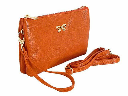 LARGE MULTI-POCKET CROSSBODY BOW PURSE BAG WITH WRIST AND LONG STRAPS - ORANGE