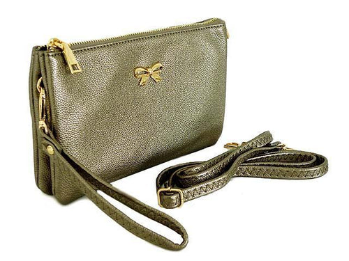 LARGE MULTI-POCKET CROSSBODY BOW PURSE BAG WITH WRIST AND LONG STRAPS - PEWTER