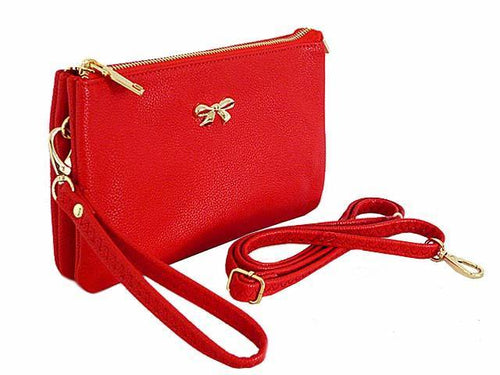 LARGE MULTI-POCKET CROSSBODY BOW PURSE BAG WITH WRIST AND LONG STRAPS - RED