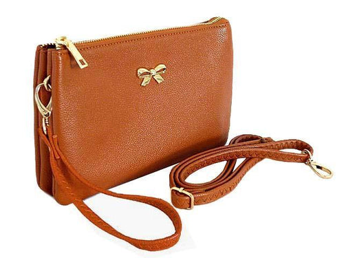 LARGE MULTI-POCKET CROSSBODY BOW PURSE BAG WITH WRIST AND LONG STRAPS - TAN