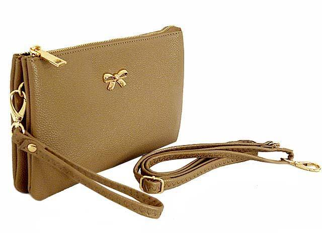 LARGE MULTI-POCKET CROSSBODY BOW PURSE BAG WITH WRIST AND LONG STRAPS - TAUPE