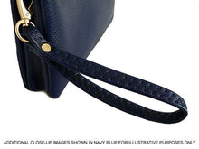 LARGE MULTI-POCKET CROSSBODY BOW PURSE BAG WITH WRIST AND LONG STRAPS - BLUE