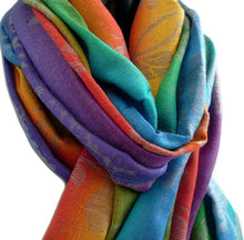 LARGE MULTI-COLOUR FLORAL PRINT RAINBOW PASHMINA SHAWL SCARF
