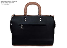 LARGE NAVY BLUE MULTI COMPARTMENT BRIEFCASE STYLE HANDBAG WITH LONG STRAP