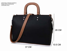 LARGE BROWN MULTI COMPARTMENT BRIEFCASE STYLE HANDBAG WITH LONG STRAP