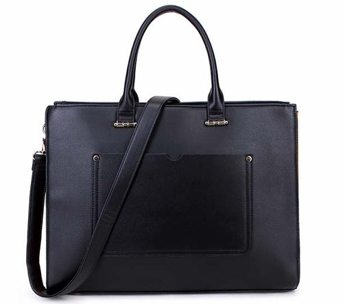 LARGE MULTI COMPARTMENT LAPTOP TOTE HANDBAG WITH LONG SHOULDER STRAP - BLACK
