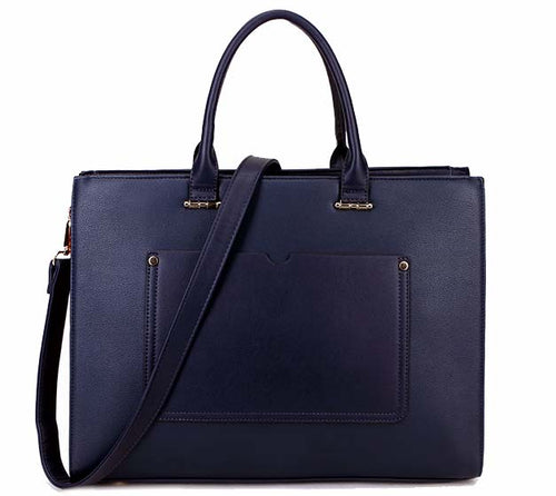 LARGE MULTI COMPARTMENT LAPTOP TOTE HANDBAG WITH LONG SHOULDER STRAP - NAVY BLUE