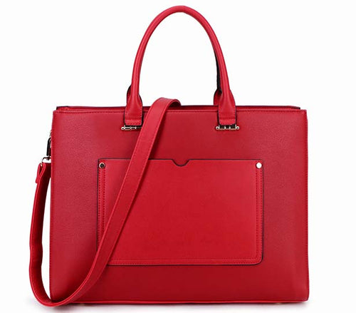 LARGE MULTI COMPARTMENT LAPTOP TOTE HANDBAG WITH LONG SHOULDER STRAP - RED