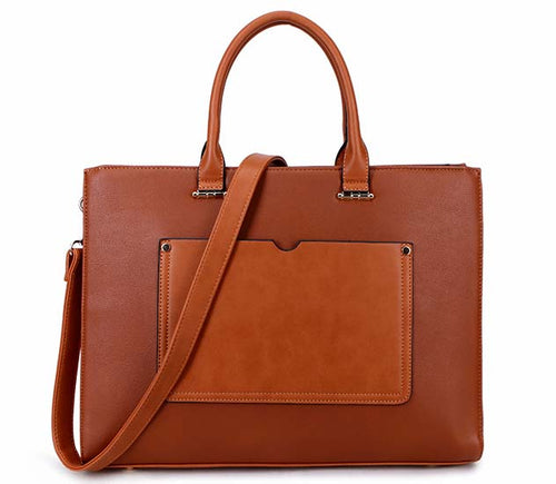 LARGE MULTI COMPARTMENT LAPTOP TOTE HANDBAG WITH LONG SHOULDER STRAP - TAN
