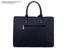 LARGE NAVY BLUE MULTI COMPARTMENT OFFICE TOTE HANDBAG WITH LONG SHOULDER STRAP