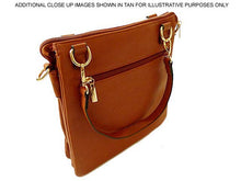LARGE BEIGE MULTI POCKET HANDBAG WITH LONG CROSS BODY STRAP
