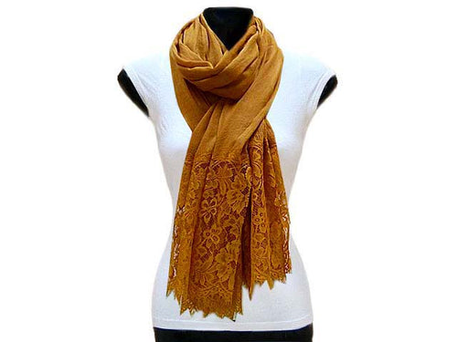 LARGE MUSTARD LACE DETAIL LIGHTWEIGHT SCARF