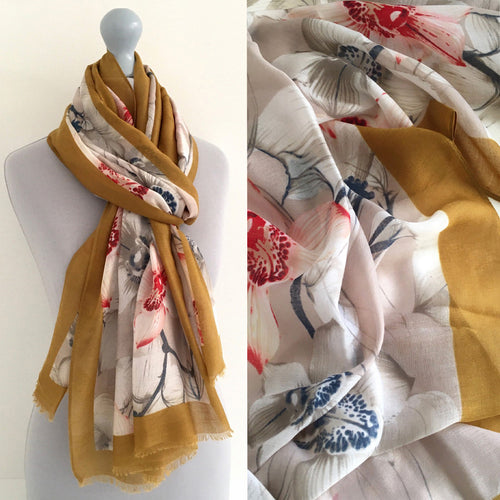 A-SHU LARGE MUSTARD YELLOW BORDER FLORAL PRINT SCARF - A-SHU.CO.UK