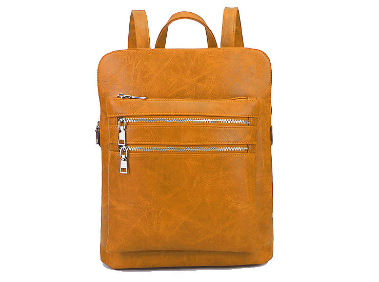 A-SHU PLAIN MULTI COMPARTMENT BACKPACK - MUSTARD YELLOW - A-SHU.CO.UK