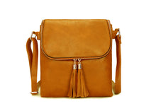 A-SHU LARGE MUSTARD YELLOW TASSEL MULTI COMPARTMENT CROSS BODY SHOULDER BAG WITH LONG STRAP - A-SHU.CO.UK