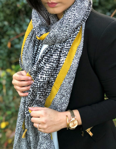 LARGE MUSTARD YELLOW HERRINGBONE TRIBAL PRINT SHAWL SCARF WITH TASSELS
