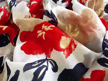 LARGE NAVY BLUE AND RED FLORAL PRINT LIGHTWEIGHT SCARF
