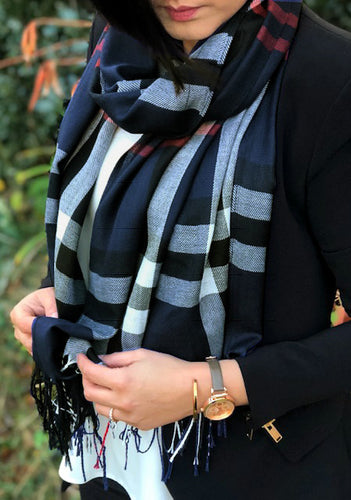 LARGE NAVY BLUE CHECK PRINT TARTAN SHAWL SCARF