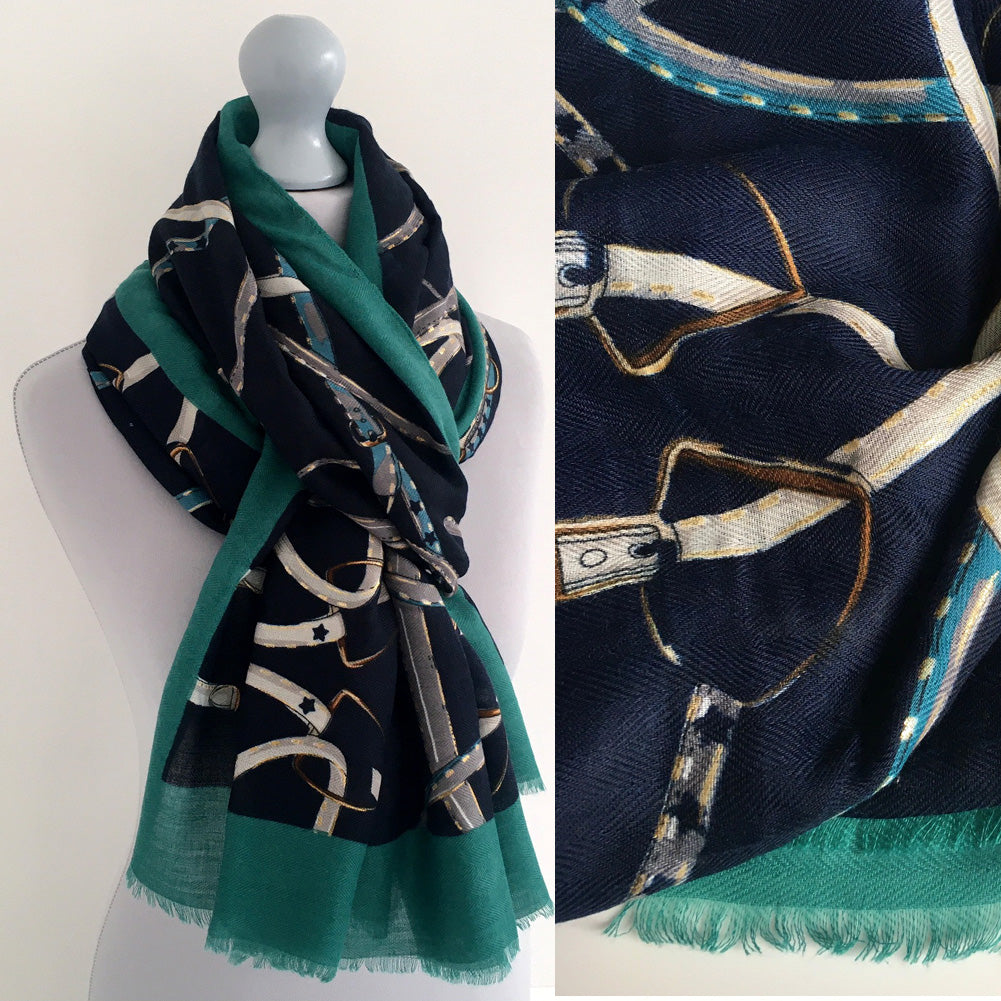 A-SHU LARGE NAVY BLUE CONTEMPORARY BUCKLE PRINT PASHMINA SHAWL SCARF - A-SHU.CO.UK