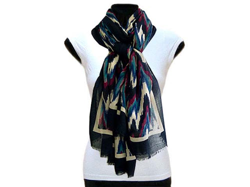 LARGE NAVY BLUE CONTEMPORARY ZIG ZAG PASHMINA SHAWL SCARF