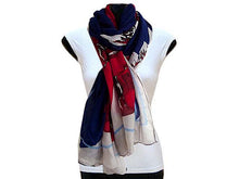 A-SHU LARGE NAVY BLUE FLORAL PRINT PASHMINA SHAWL SCARF - A-SHU.CO.UK