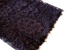 LARGE NAVY BLUE LACE DETAIL LIGHTWEIGHT SCARF