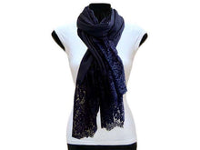 A-SHU LARGE NAVY BLUE LACE DETAIL LIGHTWEIGHT SCARF - A-SHU.CO.UK