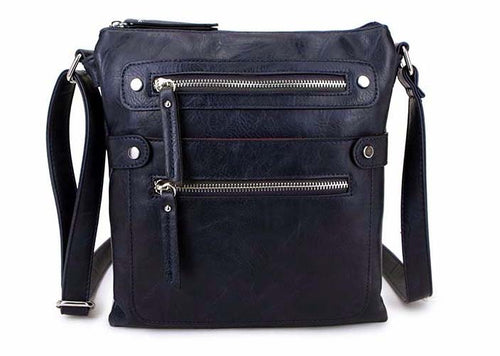 LARGE NAVY BLUE MULTI COMPARTMENT CROSSBODY BAG WITH LONG STRAP