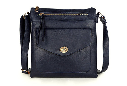 LARGE NAVY BLUE TURN LOCK MULTI COMPARTMENT CROSS BODY SHOULDER BAG WITH LONG STRAP