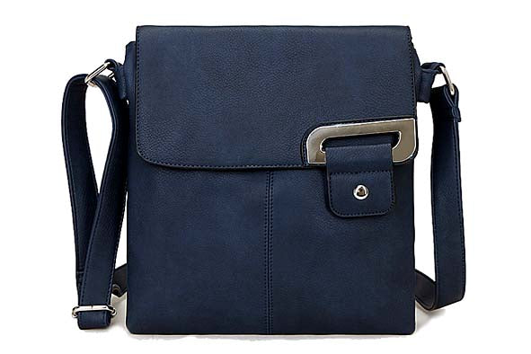 LARGE NAVY BLUE MULTI POCKET CROSS BODY MESSENGER BAG