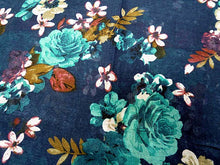 LARGE NAVY BLUE SMALL FLORAL PRINT LIGHTWEIGHT SCARF