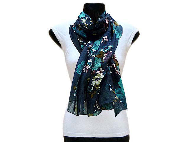 A-SHU LARGE NAVY BLUE SMALL FLORAL PRINT LIGHTWEIGHT SCARF - A-SHU.CO.UK