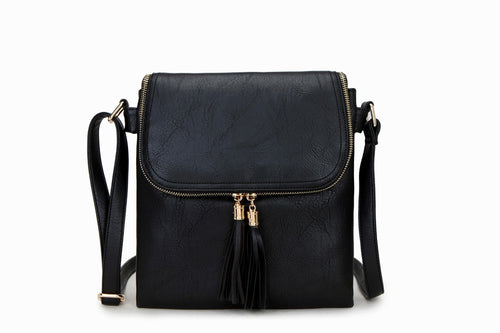 A-SHU LARGE NAVY BLUE TASSEL MULTI COMPARTMENT CROSS BODY SHOULDER BAG WITH LONG STRAP - A-SHU.CO.UK