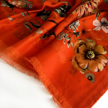 A-SHU LARGE ORANGE SUPER SOFT FLORAL PRINT SCARF - A-SHU.CO.UK