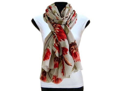 LARGE PALE GREY PINK FLORAL PRINT LIGHTWEIGHT SCARF
