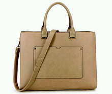 "A-SHU LARGE MULTI COMPARTMENT 15.6"" LAPTOP BRIEFCASE HANDBAG WITH LONG SHOULDER STRAP - TAUPE BEIGE - A-SHU.CO.UK"