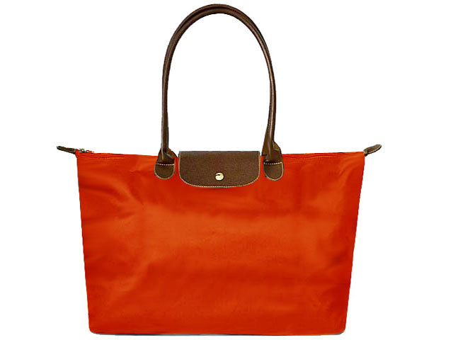 LARGE AUTUMNAL ORANGE NYLON REAL LEATHER FOLD-AWAY SHOPPER TOTE TRAVEL HANDBAG