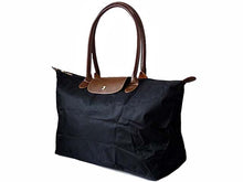 A-SHU EXTRA LARGE BLACK NYLON REAL LEATHER FOLD-AWAY SHOPPER TOTE TRAVEL HANDBAG - A-SHU.CO.UK