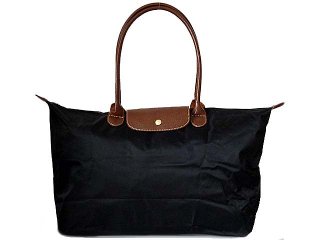 ORDER BY REQUEST - LARGE PART GENUINE LEATHER BLACK FOLD-AWAY TRAVEL SHOPPER TOTE HANDBAG