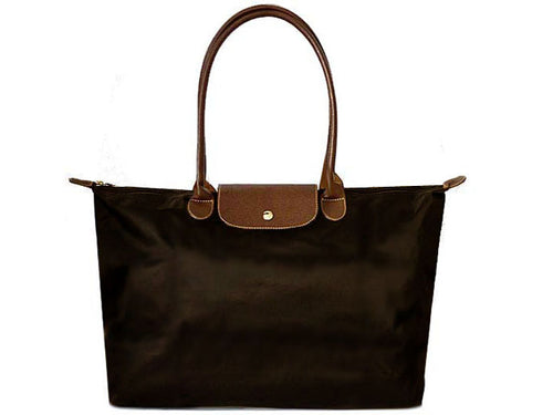 LARGE DARK BROWN NYLON REAL LEATHER FOLD-AWAY SHOPPER TOTE TRAVEL HANDBAG