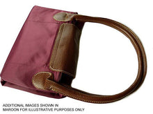 A-SHU SMALL PART GENUINE LEATHER DARK RED FOLD-AWAY TRAVEL SHOPPER TOTE HANDBAG - A-SHU.CO.UK