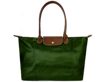 LARGE GREEN NYLON REAL LEATHER FOLD-AWAY SHOPPER TOTE TRAVEL HANDBAG