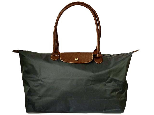 A-SHU LARGE PART GENUINE LEATHER GREY FOLD-AWAY TRAVEL SHOPPER TOTE HANDBAG - A-SHU.CO.UK