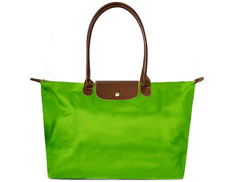 LARGE LIME GREEN NYLON REAL LEATHER FOLD-AWAY SHOPPER TOTE TRAVEL HANDBAG