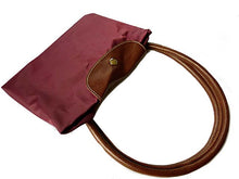 LARGE PART GENUINE LEATHER MAROON FOLD-AWAY TRAVEL SHOPPER TOTE HANDBAG