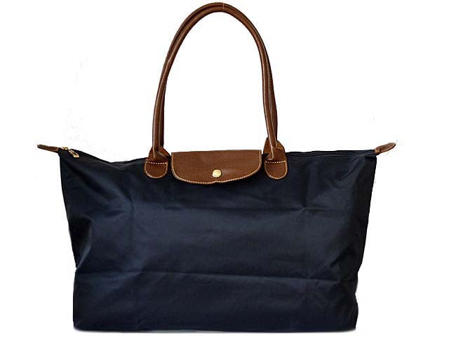 LARGE PART GENUINE LEATHER NAVY BLUE FOLD-AWAY TRAVEL SHOPPER TOTE HANDBAG