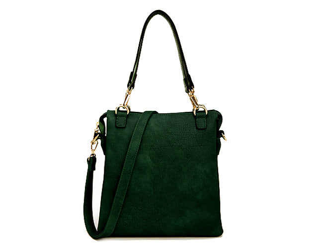 LARGE PLAIN DARK GREEN MULTI POCKET HANDBAG WITH LONG CROSS BODY STRAP